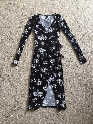 NWT Forever 21 Black White Gray Floral Wrap Dress Long Sleeves Small