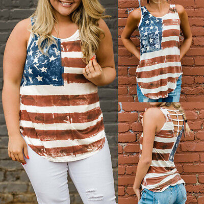 Women American Flag Loose 4th Of July Sleeveless T-shirt Blouse Vest Tank Tops