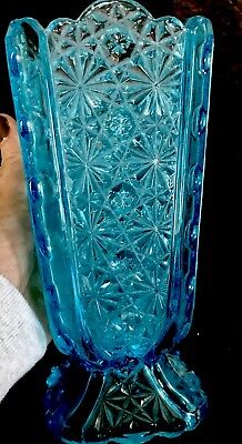 Fenton for L-G- Wright Blue Large Vase- Daisy and Button Pattern Broken