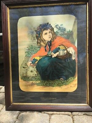 ANTIQUE 19th C- LITTLE RED RIDING HOOD WALNUT FRAME 32 X 26 MAX JACOBY ZELLER