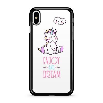 ENJOY AND DREAM QUOTE COLOURFUL SMILEY HAPPY UNICORN GIRL 2D PHONE CASE COVER