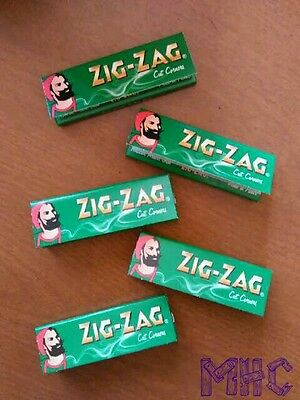 5 Books ZIG-ZAG Green Cut Corners 1-0 Cigarette Rolling Papers