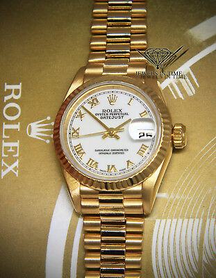 Rolex Datejust President 18k Yellow Gold White Roman Dial Ladies Watch 69178