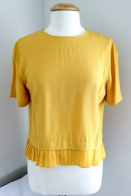 Zara Woman Pullover Crop Top Large L Yellow Pleated Hem Short Sleeve