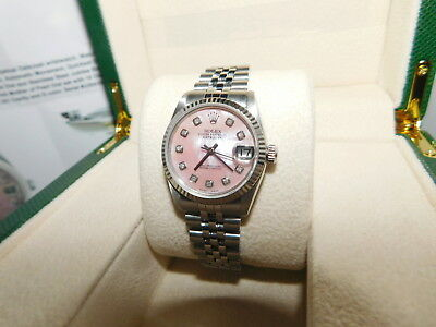 Rolex Oyster Perpetual DateJust 31mm Stainless Steel Pink Diamond Watch AUTHENTI