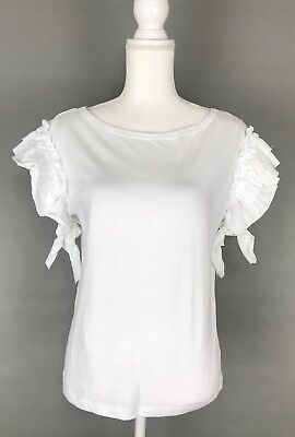 Zara White Tee Ruffle Tie Sleeve Top Womens Knit Blouse Size S