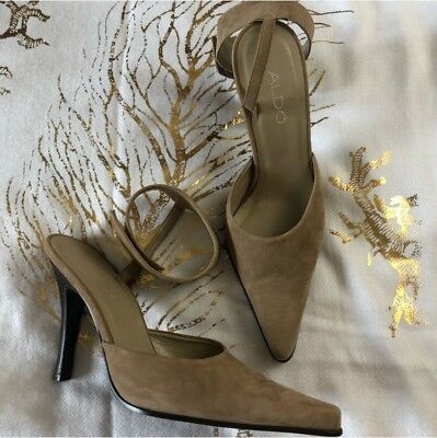 ALDO Tan Suede High Heel Pumps with Ankle Strap - Size 8 Pointy Toe