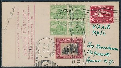 AMELIA EARHART SIGNED COVER OCT 281933 LANSING MICHIGAN CANCEL WLM6430