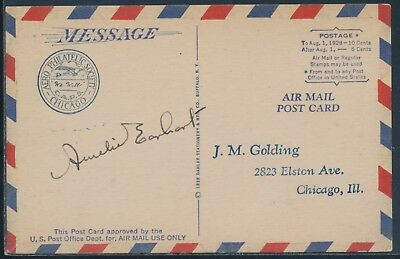 AERO PHILATELIC SOCIETY CHICAGO POSTCARD SIGNED BY AMELIA EARHART WLM6439