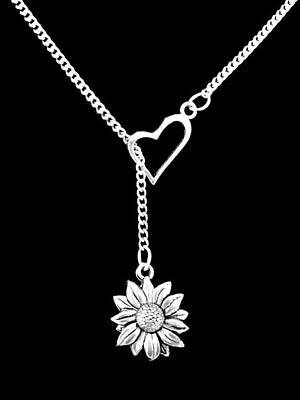 Daisy Necklace Sunflower Flower Nature Friend Mothers Day Heart Lariat Jewelry