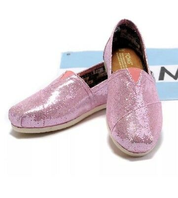 TOMS PINK GLITTER ROSE CLASSIC ORIGINAL SLIP ON SHOES Womens Slippers 9-5