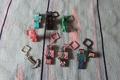 Minecraft Key chains and Minecraft Toy Lot Action Figures Pig Axe Pig man Creepe