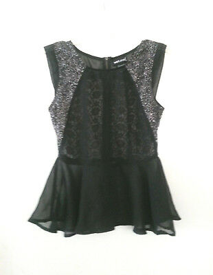 Wet Seal Black Sheer Peplum Top Shirt Lace Floral Silver Back Zip Womens Size S