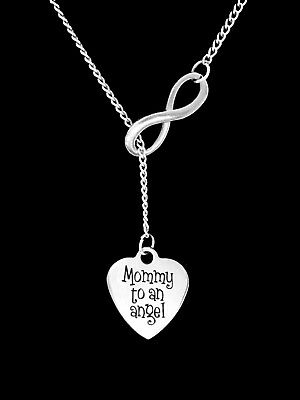Memorial Necklace Mommy To An Angel Lariat Adoption Mothers Day Jewelry