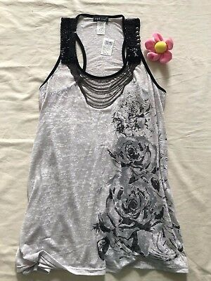 Wet Seal Burnout Floral Grey Tank with Attached Necklace Boho-Size S