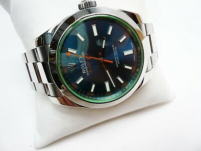 Rolex 116400GV Milgauss Z-Blue SS Professional Wristwatch Box and Cert 2017
