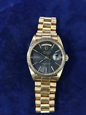 Rolex Day-Date President 18238 Black Dial 18K Yellow Gold Automatic Mens Watch