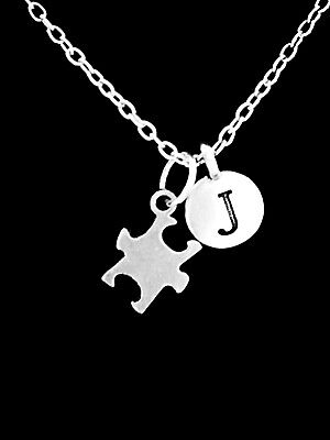 Puzzle Piece Necklace Initial Autism Awareness Mom Mothers Day Jewelry