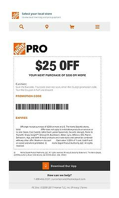 One 1x Home Depot 25 off 200Coupon In-Store Only-fast