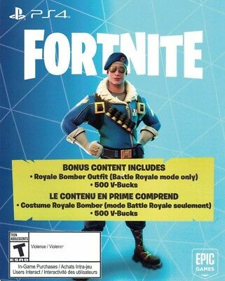 Fortnite Battle Royale Bomber Skin - 500 Vbucks DLC Download PlayStation 4 BONUS