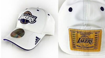 NBA Los Angeles Lakers White Adidas 16X Champions Adult Fitted Hat Cap