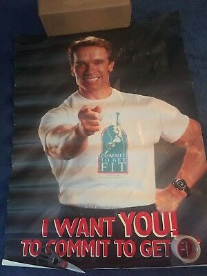 Arnold Schwarzenegger Vintage OLD Poster Huge I Want YOU TO COMMIT TO GET FIT