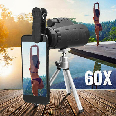 Monocular 50X60 Zoom Optical HD Lens Telescope - Tripod - Clip For Smart Phone