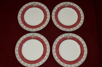 FOUR Wedgewood Sarahs Garden Queens Ware Red wPinecone Made in England c-1977