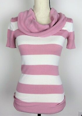Wet Seal Juniors Cowl Neck Short Sleeve Ribbed Waist Top Striped Pink White Sz S