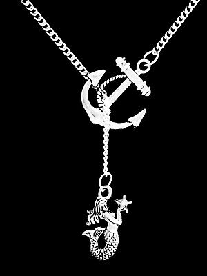 Mermaid Necklace Anchor Lariat Sea Ocean Beach Nautical Mothers Day Jewelry