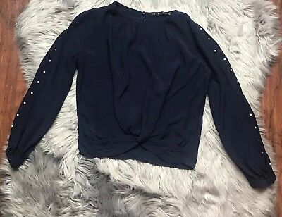 Zara Collection Blouse Size XS Dark Blue Long Sleeve Crop Top White Pearl Arms