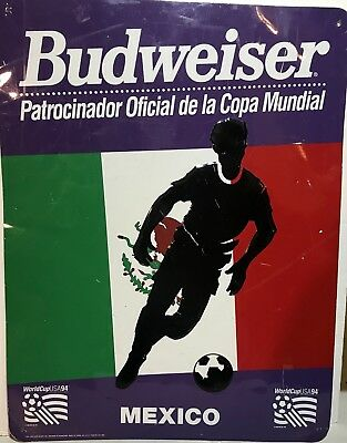 Budweiser Official Beer World Cup USA 1994 Mexico Metal Sign Advertising Soccer