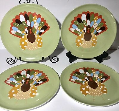 Set of 4 Pottery Barn Kids Thanksgiving Turkey Dinner Plates 10 Melamine