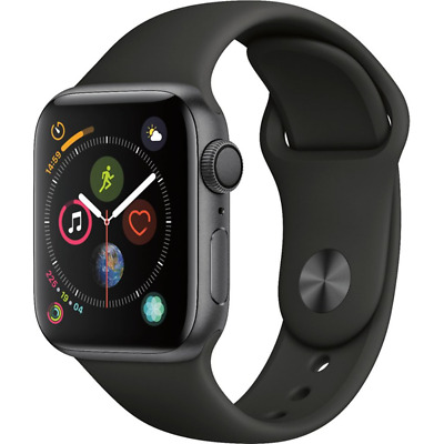 Apple Watch Series 4 GPS 44mm Space Gray Case with Black Sport Band MU6D2LLA