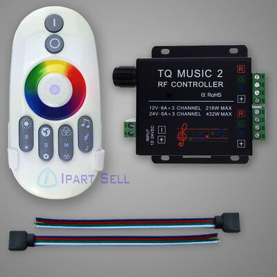 LED RGB Music Touch RF DC12-24V 4-Pin Remote Control for LED Strip Light 3-5mm