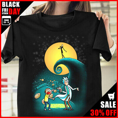 Rick and Morty Portal Nightmare Before Christmas T Shirt Black Cotton Men Tee