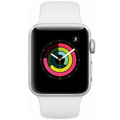 Apple Watch Series 3 GPS with White Sport Band 38mm Silver Model MTEY2LLA