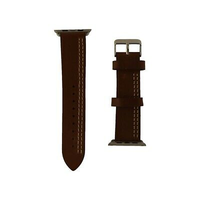 iGear 42mm Apple Watch Strap Leather and Silver Buckle - ChestnutCream