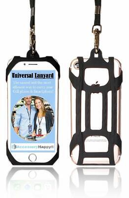 Black Universal 2 in 1 Lanyard Card Holder Cell Phone Tether Silicone Neck Strap