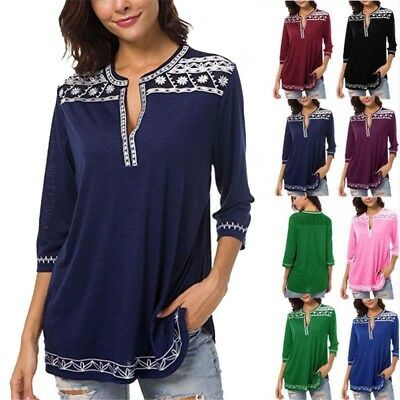 Summer Womens Cotton T Shirt V Neck Long Sleeve Baggy Blouse Tee Tops Printed