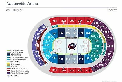 Columbus Blue Jackets 2 Tickets Feb 2 2219 on the glass Row A Section 116