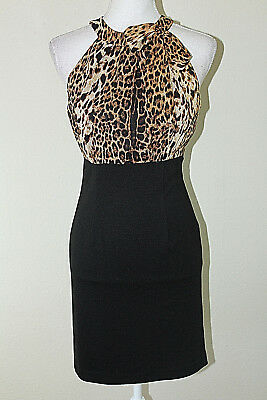 Fabulous FOREVER 21 Womens Size S Black Leopard Print Sheath Dress w Bow Detail