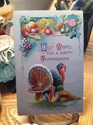 Vintage Patriotic Thanksgiving Postcard 2 Turkeys 1 Laying Down 1 Fanned Tail