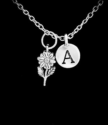 Daisy Flower Necklace Sunflower Mothers Day Gift Initial Charm Jewelry