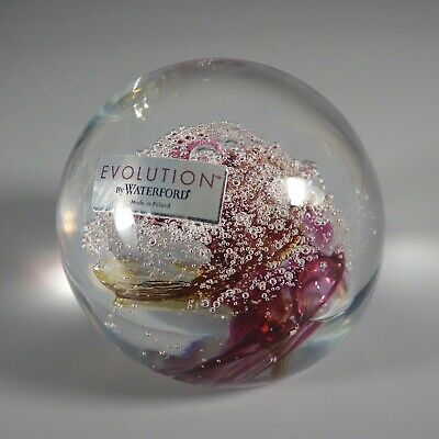 Signed Cosmic Waters Waterford Evolution Art Glass Paperweight - Maroon - Yellow