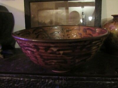 11  Handthrown Stoneware Pottery Serving Bowl  Signed