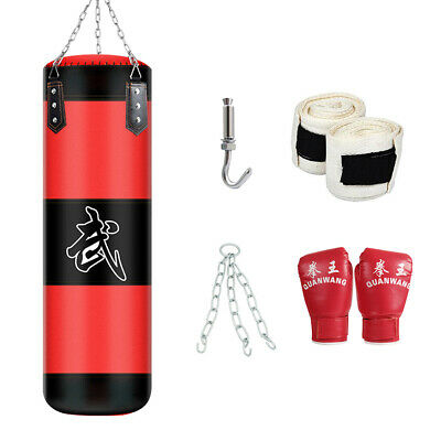 39 Heavy Boxing Punching Bag Training Gloves Kicking MMA Workout wHook Chain