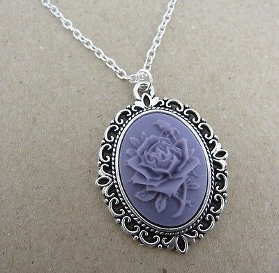 Mothers Day  Silver Plated Purple 3D Rose Cameo Necklace New in Gift Bag