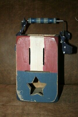Rustic Wooden Star Flag Fourth of July Memorial Day Decoration Shelf Box