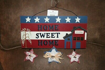 Rustic Wooden Home Sweet Home Fourth of July Memorial Day Decoration Plaque
